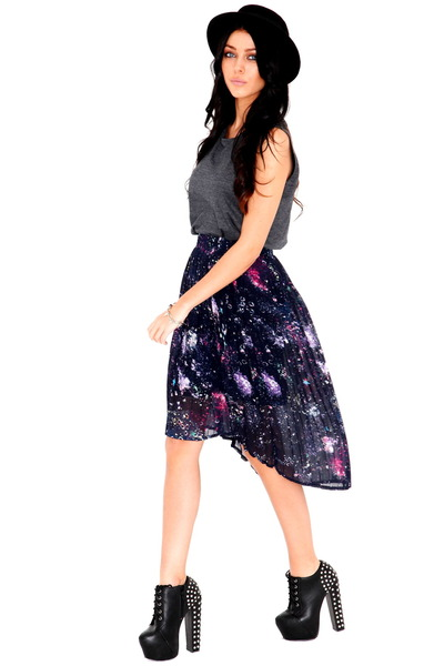 skirts quot pleats starry cosmic galaxy universe print high
