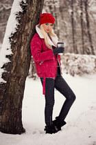 red Allbuy coat - ruby red Allbuy hat