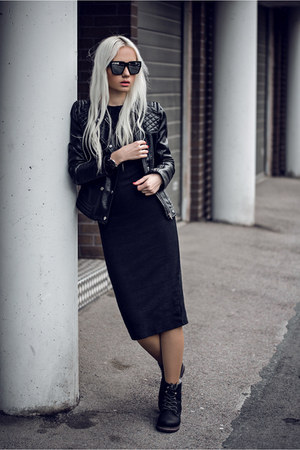 black Sheinside dress - black Calister watch