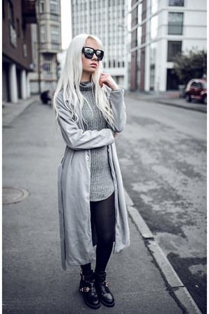 silver zaful dress - silver zaful coat