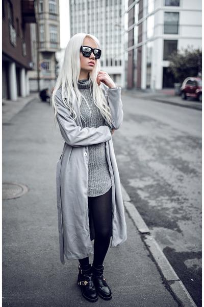 silver zaful dress - silver zaful coat