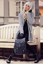 black romwe dress - black LEGRO7 bag - charcoal gray romwe cardigan