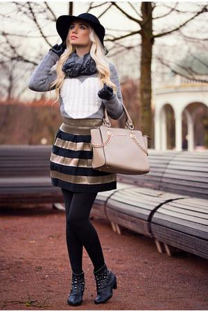 heather gray Sheinside sweater - black Sheinside skirt