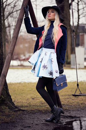 light blue EliteFashion99 skirt - navy EliteFashion99 coat