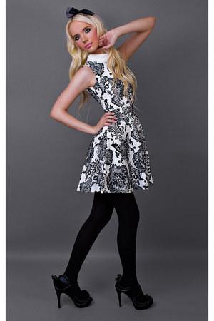 white Missguided dress - black Friis&Company heels