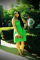 chartreuse davids bridal dress - brown vintage flower vintage purse