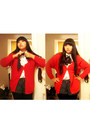 Red-gap-cardigan-black-h-m-shorts-white-h-m-blouse