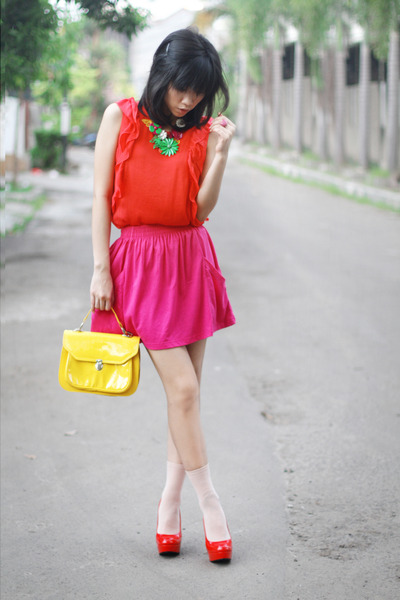 yellow doctor bag Topshop bag - hot pink Zara skirt - red Zara top - red Charlot