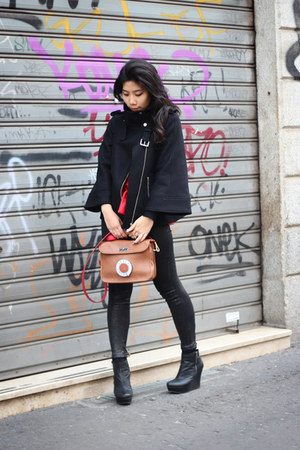 brown Salvador Bachiller bag - black Zara jacket - red H&M top