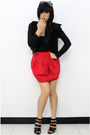 Black-blazer-black-topshop-top-red-dorothy-perkins-skirt-black-charles-k