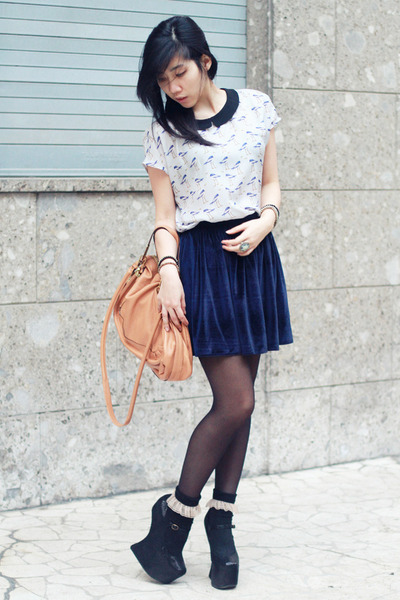 black Jeffrey Campbell wedges - light blue birds printed Zara shirt