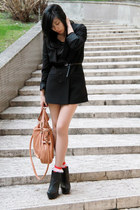 black zipped boots Aldo wedges - black H&M blazer - tan Chloe bag