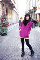 black laced-up Dr Martens boots - hot pink Terranova coat