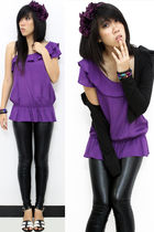 purple Forever 21 accessories - purple Dorothy Perkins top - black blazer - blac
