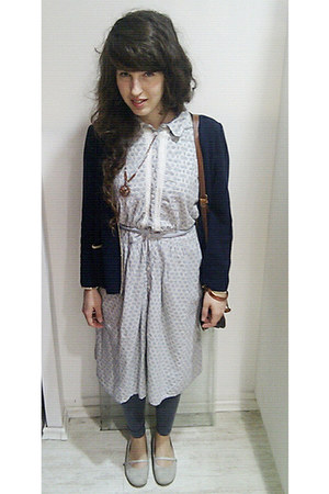 light blue cotton Noa noa dress - navy wool Betty Barcley jacket