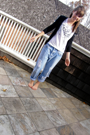 white Forever21 blouse - blue Levis Vintage Collection jeans - black Lacoste car