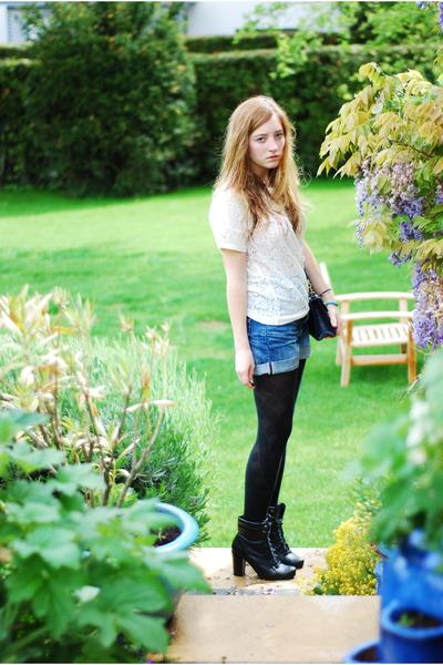 white H&M top - blue H&M shorts - black M&S tights - black Pimkie boots