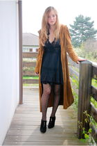 black vintage dress - orange my mums coat - black H&M tights - black gift shoes