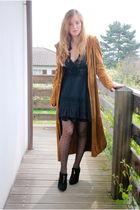 black vintage dress - orange my mums coat - black H&M tights - black gift shoes