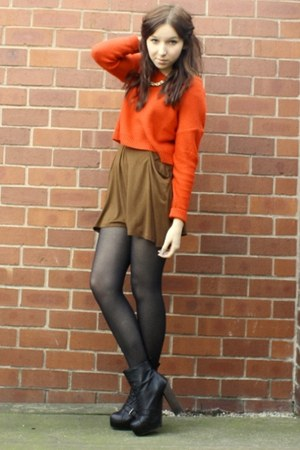 Topshop boots - pull&bear skirt - H&M jumper