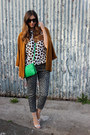 Burnt-orange-orange-zara-blazer-green-green-sandro-bag
