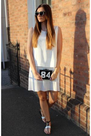 pleated Mango dress - clutch Zara bag - cat eye asos sunglasses