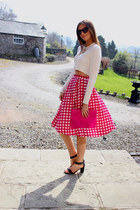 gingham Primark skirt - pony fur asos bag - white Zara top