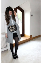 heather gray waistcoat Zara jacket - black leather new look boots