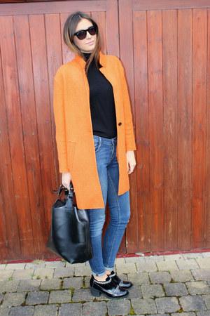 orange Zara coat - leather chains new look boots
