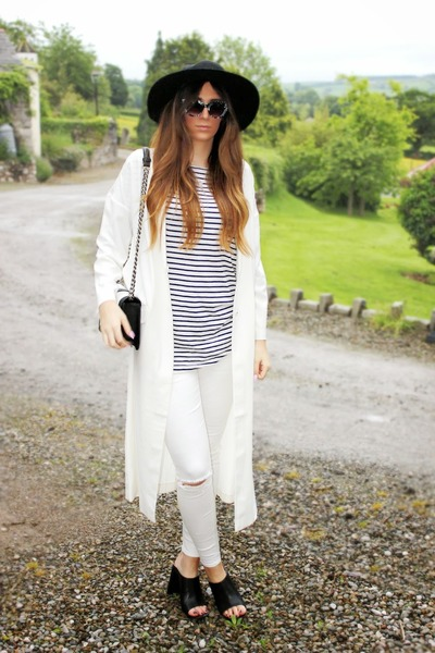white asos coat - white asos jeans - black whistles hat - monochrome H&M bag