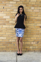blue Motel skirt - black Aldo heels - black Topshop top