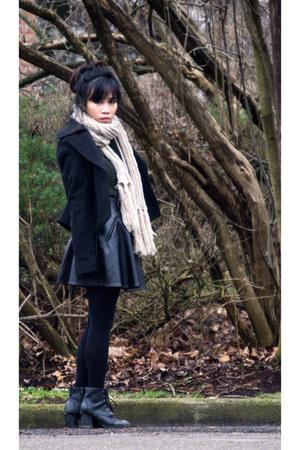 black heels Charlotte Russe boots - black Old Navy coat - olive green sweater