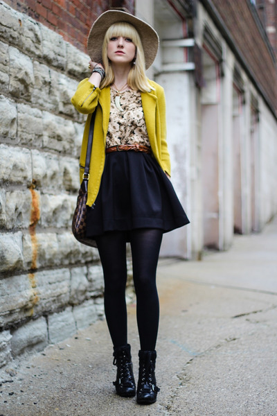 black Nasty Gal skirt - mustard Gap jacket - light brown Louis Vuitton bag