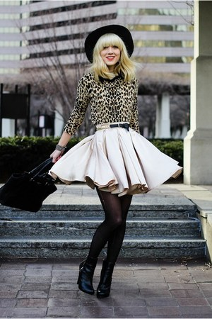 gold American Apparel skirt - black H&M boots - cheetah Forever 21 sweater