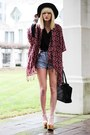 Light-blue-denim-diy-shorts-magenta-shawl-bcbg-cardigan