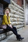 Black-nasty-gal-skirt-mustard-gap-jacket-light-brown-louis-vuitton-bag
