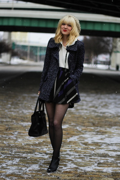 navy BCBG coat - black BCBG skirt - white Forever 21 hoodie