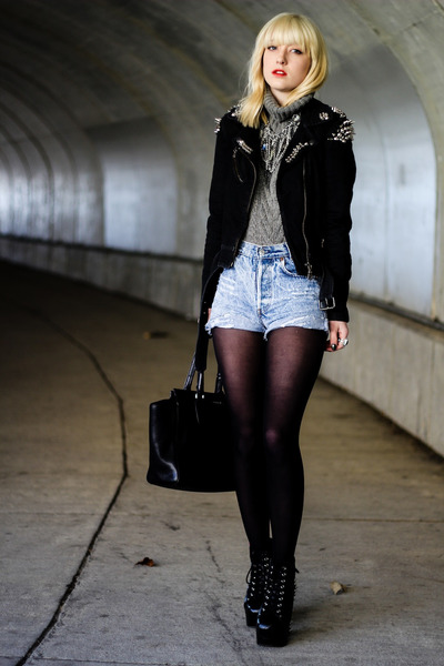 black Jeffrey Campbell boots - black Levis and DIY jacket