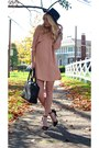 Black-mint-hat-pink-fall-looks-topshop-dress-black-satchel-coach-bag