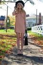 Pink-fall-looks-topshop-dress-black-mint-hat-black-satchel-coach-bag