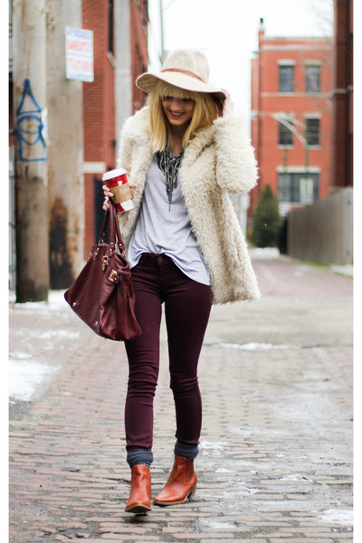 tawny Made boots - off white BCBG coat - crimson Marc by Marc Jacobs pants