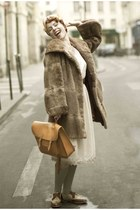 fur coat - lace dress - silk scarf - leather bag - green socks