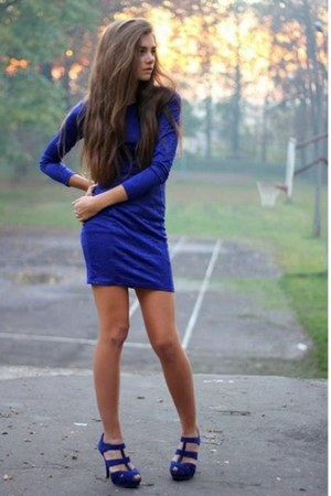 blue H&amp;M dress - blue pull&amp;bear heels