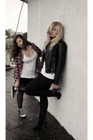 black Terranova jeans - black jacket - black F&F heels - maroon H&M cardigan - b