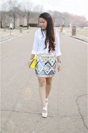 yellow kate spade purse - white Jimmy Choo wedges - turquoise blue Express skirt