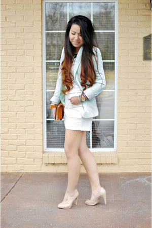 mint Zara blazer - lace Forever 21 top - melie bianco wallet - BCBG pumps