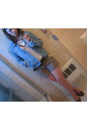 Jill Stuart jacket - Alice and Olivia shorts - Biviel shoes - free people shirt