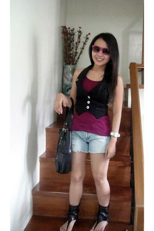 Aldo sunglasses - Candies vest - Topshop top - Terranova shorts - prp boots