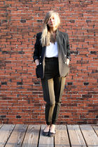 black Vintage Christian Dior blazer - white American Apparel top - green vintage