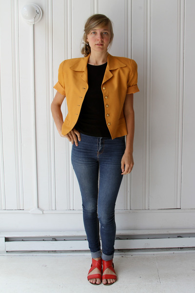 orange Vintage Christian Dior blazer - black vintage t-shirt - blue Cheap Monday